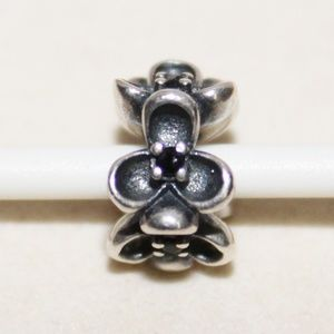 "Pandora ""Black Floral Elegance"" Black CZ Charm"